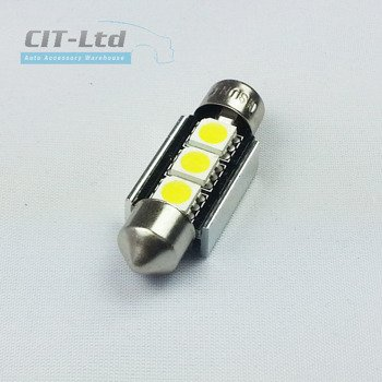 LED Car Light Bulb C5W 3x SMD-5050 Festoon 36mm CanBus YELLOW